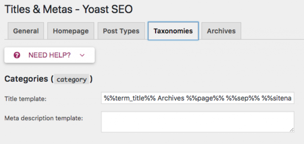 Yoast plug in titles and metas section