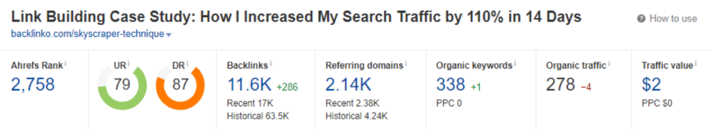Link Building case study increase in search ahrefs screenshot