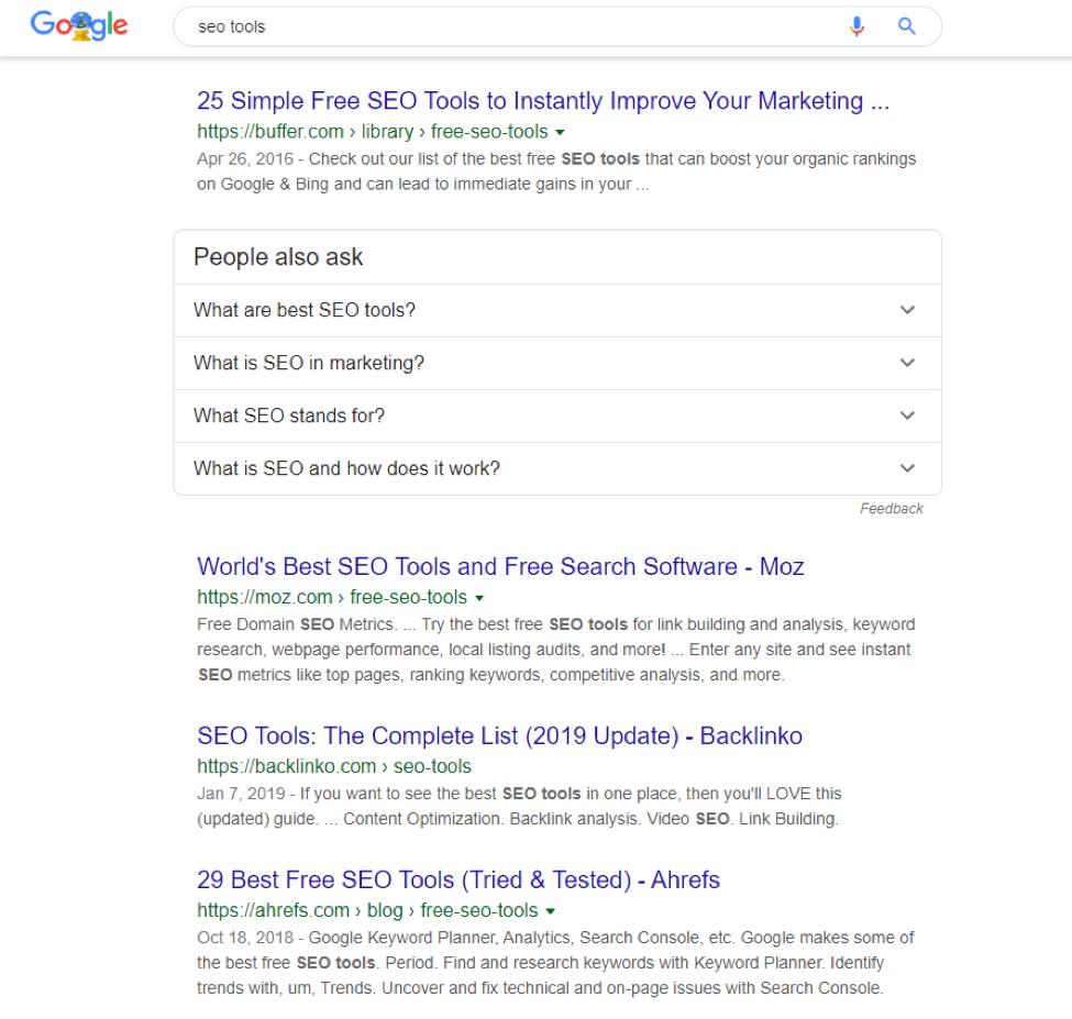 SEO Tools google search page screenshot