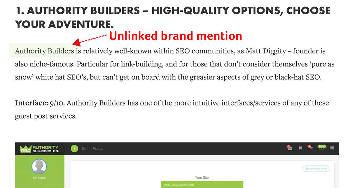abc unlinked brand mentions from a review site