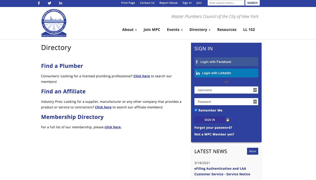 plumbers directory web sample