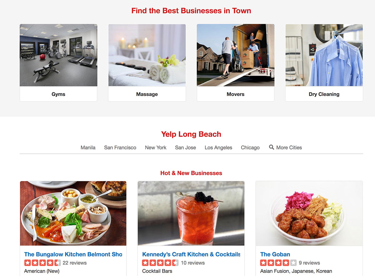 yelp sample location specific